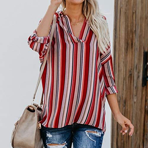 T Haut Casual Tops Longues et Blouse Mode Rouge Femmes Casual Chemise Chic Haut Mi Chemisier Shirt Lache Beikoard Manches Casual Lache Femmes Longue Rayures T Lache Shirt Tops BFnqf41w