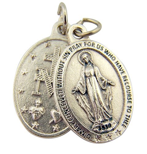 Silver Toned Base Oval Our Lady of Grace Miraculous Medal Pendant, 1 Inch