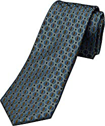 Zarrano Skinny Tie 100% Silk Woven Light Blue Patterned Tie