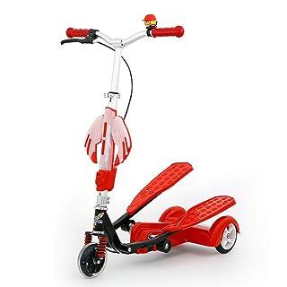 Scooter per Bambini con Ruote in PU Regolabile in Altezza con Scooter A Forma di Rana Pieghevole per 4-15 Anni Doppio Pedale,Blue