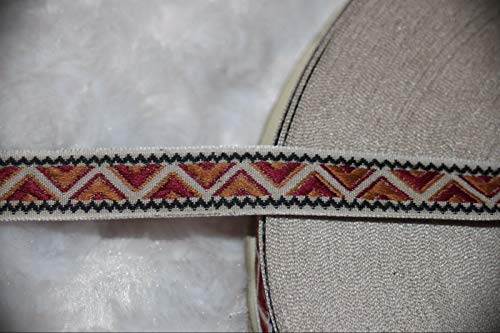 1 Yard Tan Rust White Zig Zag Diamond Woven Jacquard Sewing Craft Assorted Pattern Ribbon Lace Trim 1/2