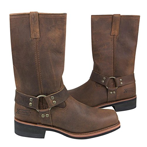 Xelement 1556 Crazy Horse Mens Brown Harness Motorcycle Boots - 10 1/2