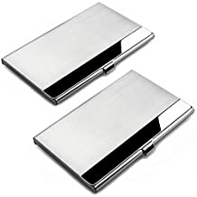 SENHAI 2 Pack Business Card Holders, Stainless Steel Storage Protective Holders Pocket Cases