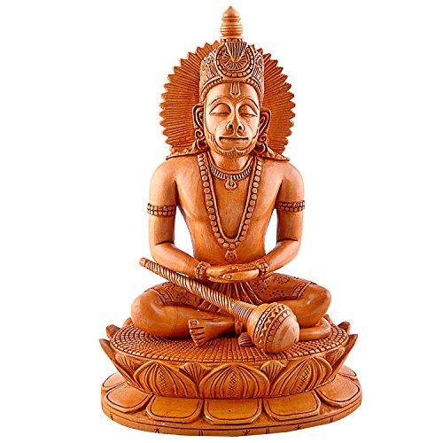 CraftVatika Wooden Sculpture Monkey Hindu God Hanuman Statue- Hand Carving Lord Meditating and sitting on Lotus, Unique Wood Art Idol