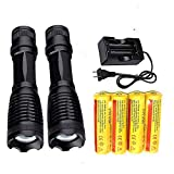 Best 18650 Flashlight 2000 LM(2 Packs) with 4PCS 3.7V Rechargeable Battery and Charger,XML-T6 handhold Flashlight Ultra Bright Adjustable Focus and 5 Modes for Outdoor Sports
