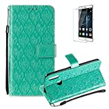 For Huawei Honor 10 Lite Wallet Case [Free Screen Protector],Magnetic Flip with Cards Slot Cash Pockets Embossed Rattan Flowers Pattern Soft Silicone Cover for Huawei Honor P Smart 2019,Green