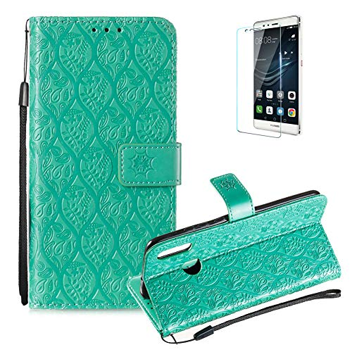 For Huawei Honor 10 Lite Wallet Case [Free Screen Protector],Magnetic Flip with Cards Slot Cash Pockets Embossed Rattan Flowers Pattern Soft Silicone Cover for Huawei Honor P Smart 2019,Green by Funyye (Image #1)