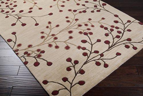 69ov Oval Rug By (Surya Athena ATH-5053 Transitional Hand Tufted 100% Wool Dark Beige 6' x 9' Oval Floral Area Rug)