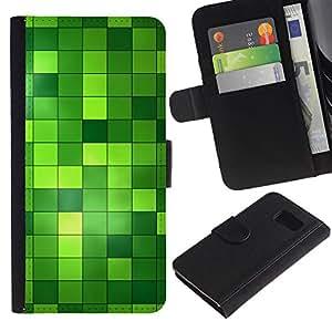 Paccase / Billetera de Cuero Caso del tirón Titular de la tarjeta Carcasa Funda para - Pattern Checkered Green Bright Bling - Samsung Galaxy S6 SM-G920