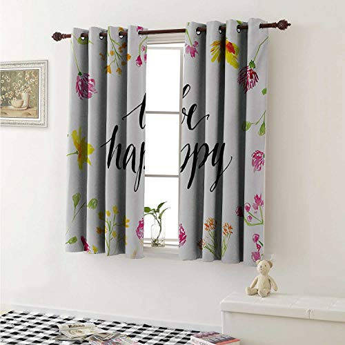(shenglv Quote Room Darkening Wide Curtains Positive Vibes Spring Revival Floral Be Happy Phrase Framed by Colorful Wild Flowers Window Curtain Drape W108 x L72 Inch Multicolor)