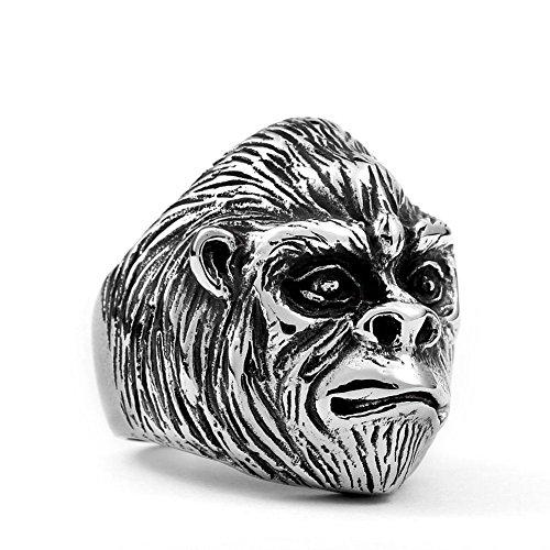 Detailed Ape Gorilla Stainless Steel Mens Womens Metal Ring