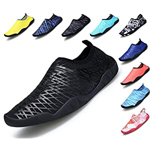 SIKELO Lightweight Men and Women's Quick-Dry Sports Water Shoes, Black, M: US Big Kid: 5~7 / Women: 6.5~8 (EU 37-39)