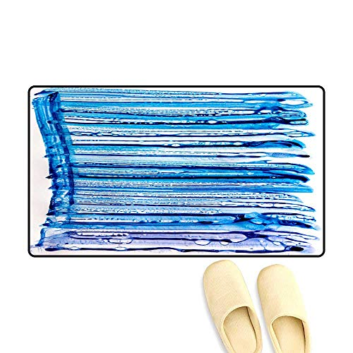 Door Mats for Inside Abstract Ink Pattern on Water Repellent Paper Watercolor Blue Bubbles Texture Sponge Illustration