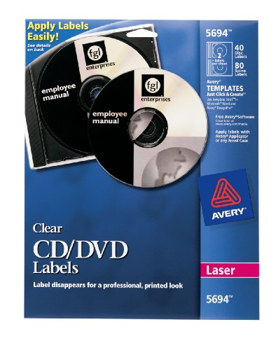 Avery Clear CD Labels for Laser Printers, 40 Disc Labels and 80 Spine Labels (Clear Laser Cd Label)