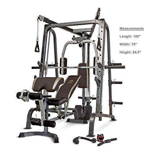 Marcy Smith Cage Workout Machine Total Body Training Home Gym System with Linear Bearing MD-9010G (Renewed)