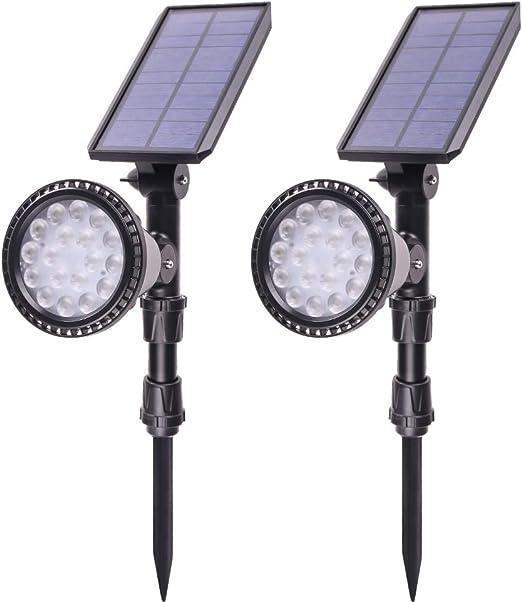 MYUANGO Foco Solar,18 LED Impermeable Luces Solares Exterior,Luz de Jardín y Autoencendido/Apagado para jardín,patio,entrada,piscina,paisaje (Blanco Frío 2 unidades): Amazon.es: Iluminación