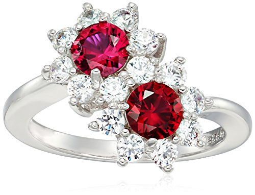 Plated Sterling Silver Round Created Ruby Flower Bypass Swarovski Zirconia Accents Ring, Size 7 (Flower Bypass)