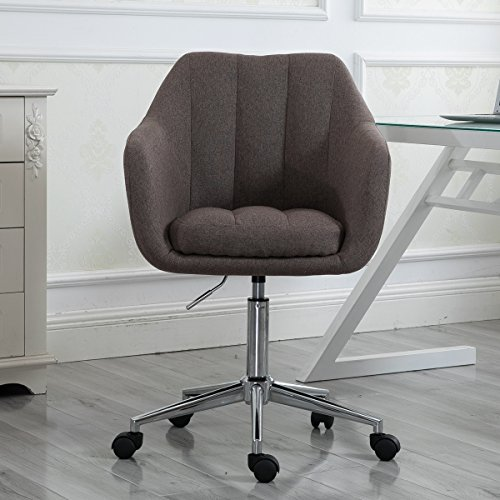 Swivel Computer Desk Chair Ergonomic Modern Accent Home Office Task Chair with Armrest, Brown by windaze