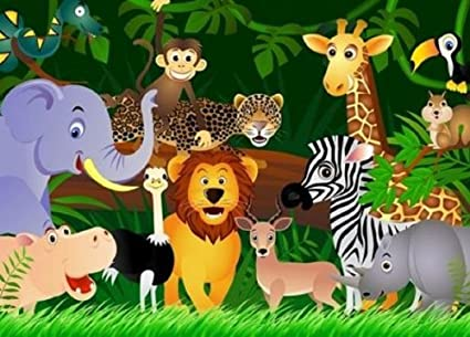 Kids Wallpaper Wild Animals Jungle Wall Mural Green Wall Decor 254x183cm