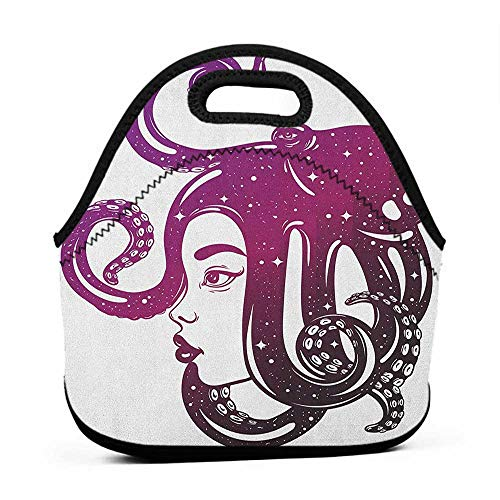 (for Womens Mens Boys Girls Octopus,Female Profile Illustration with Octopus on Her Head Creative Art, Purple Dark Purple Magenta,hard top lunch bag for men )