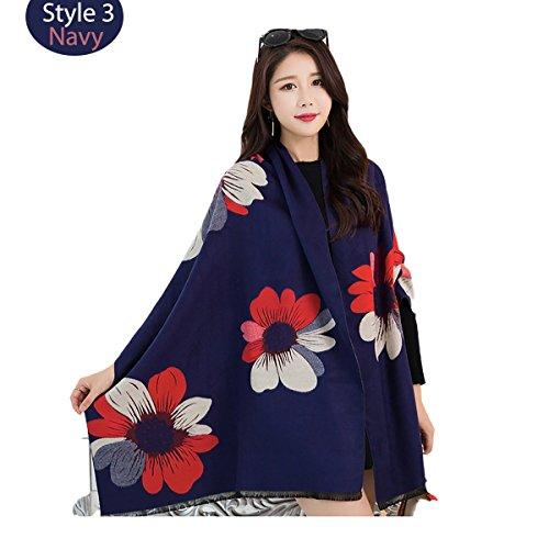Flower vintage style jacquard viscose scarf shawl wraps imitated cashmere wool pashmina scarf (navy, one size) (Wool Vintage Scarf)