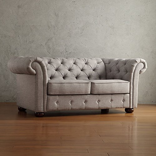Lindenfield Linen Tufted Chesterfield Loveseat