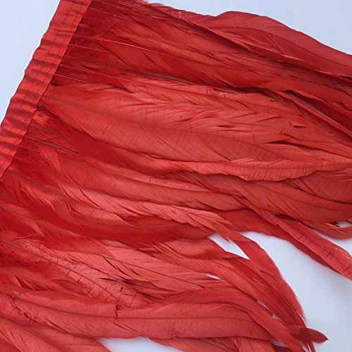 Sowder Rooster Hackle Feather Fringe Trim 10-12inch in Width Pack of 1 Yard(red)