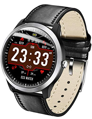 Smart Watch ECG PPG Heart Rate Blood Pressure Monitor Step Counter Calorie Sleep Tracker iOS Smartwatch Android Black (Best Contraction App 2019)