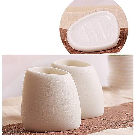 Lophome Set di 5 Accessori da Bagno in Resina a Forma di ciottolo Decorazione per la casa White Sand per Sapone e spazzolino da Denti in Lattice