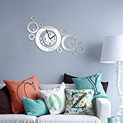 Alrens_DIY(TM)Silver New Magnificent Art Mordern Luxury Design DIY Removable Acrylic Non-ticking Silent Quartz Wall Clock 3D Crystal Mirror Surface Wall Clock Wall Sticker Home Decor Art Living Room Bedroom Office Decoration