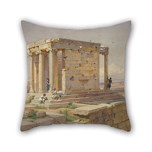 Athena Throw Pillow (Oil Painting Werner Carl-Friedrich - The Temple Of Athena Nike. View From The North-East Throw Pillow Case 18 X 18 Inches / 45 By 45 Cm Gift Or Decor For)