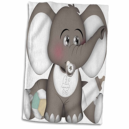 3D Rose Cute Gray and White Baby Elephant with a Pacifier-Bib-and Bottle Hand Towel, 15