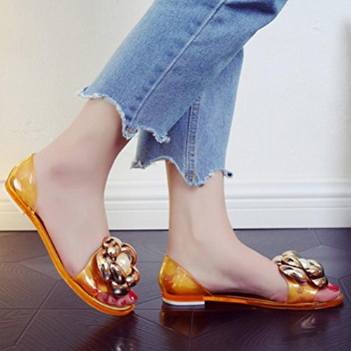Jamicy Women Ladies Fashion Flower Design Fish Mouth Plastic Flat Summer Casual Jelly Beach Sandals Gold BaSkRK