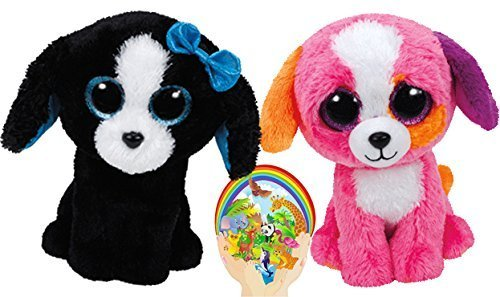 (Ty Beanie Boos Pink PRECIOUS and Black & White TRACEY Dogs Friends Gift set of 2 Plush Toys 6-8 inches tall with Bonus Animals Sticker )