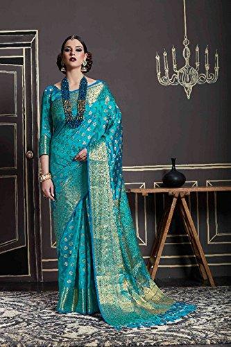 Di Partito Donne Facioun Indiani Tradizionale Da Per Le Sari Sari Cielo Blu Progettista Indossare Nozze RwYqYF