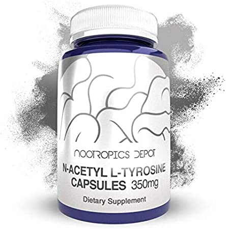 N-Acetyl L-Tyrosine Capsules   350mg   240 Count   NALT   Amino Acid Supplement   Natural Nootropic Supplement   Supports Memory, Learning and Focus   Supports Healthy Stress Levels