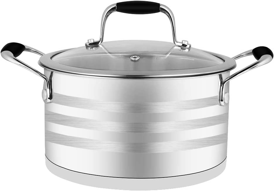 ECPURCHASE Stock Pot Stockpots, Stainless Steel Pot Soup Pots with Lids, Dishwasher Safe Cooking Pot for Home use and Restaurant, 3.8 Quart/ 3.6 L