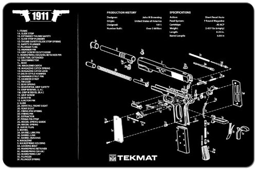 TekMat 1911 Cleaning Mat / 11 x 17 Thick, Durable, Waterproof / Handgun Cleaning Mat with Parts Diagram and Instructions / Armorers Bench Mat / Black
