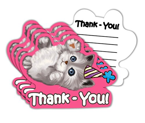 Kitty Cat Pink Kitten Birthday Party Thank-You Notes Value Pack (20 Count)