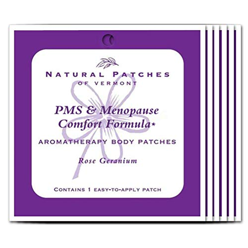 Natural Patches Of Vermont Rose Geranium PMS & Menopause Essential Oil Body Patches, Single Patch Pouch (Pack of 6) ()