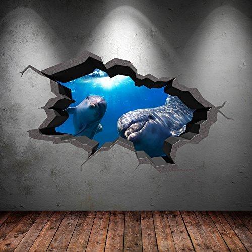 UNDERWATER CRACKED CAVE AQUARIUM DOLPHIN FISH 3D WALL ART STICKER ...