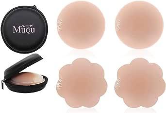 Woman Silicone Pasties Adhesive Bra Reusable 2 Pair Nipple Cover Set by MUQU (Nude)