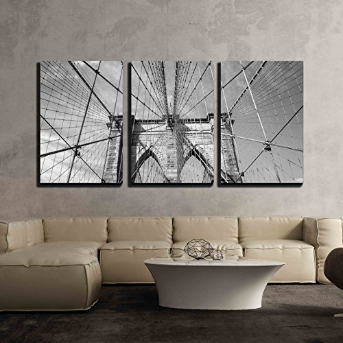 wall26 - 3 Piece Canvas Wall Art - Brooklyn Bridge New York City, USA in Black and White - Modern Home Decor Stretched and Framed Ready to Hang - 16