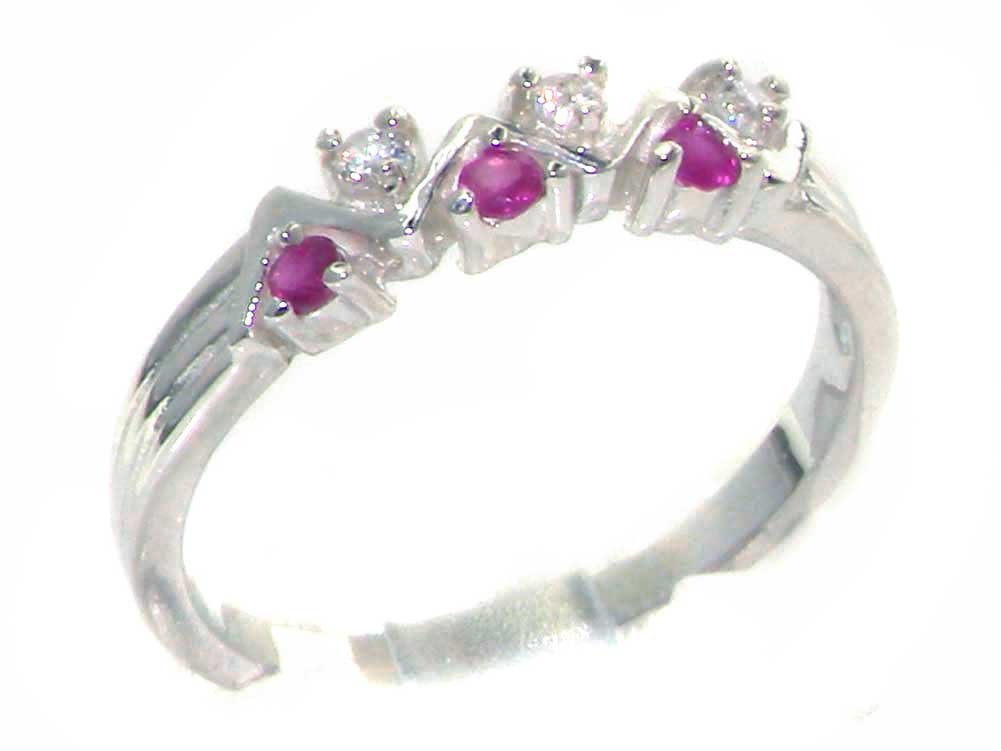 925 Sterling Silver Natural Ruby and Diamond Womens Eternity Ring - Sizes 4 to 12 Available