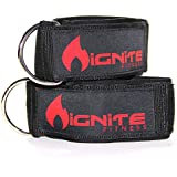 Neoprene Ankle Straps By Ignite Fitness (2 Pk), Intensify Your Machine Cable Workouts for Abs, Legs, and Glutes - Durable Fitness Cuffs with D Ring and High Strength Velcro - Fits Both Men and Women