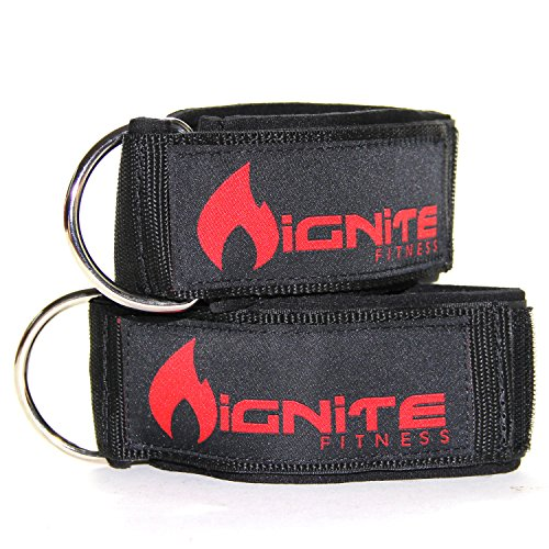 Neoprene Ankle Straps By Ignite Fitness, Intensify Your Machine Cable Workouts for Abs, Legs, and Glutes Durable Fitness Cuffs with D Ring and High Strength Velcro Fits Both Men and Women