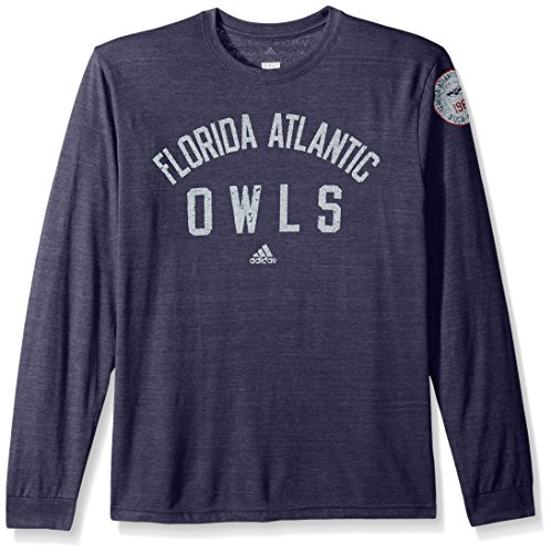 adidas NCAA Florida Atlantic Owls Adult Men Arched Heritage Tri-Blend L/S Tee, Large, Dark Navy -