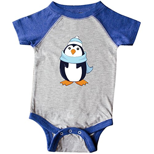 inktastic - Christmas Penguin in Infant Creeper Newborn Heather and Royal 274b2