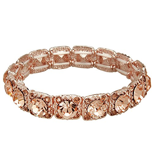 Ponytail Rhinestone Bracelet - Falari Crystal Stretch Bracelet Wedding Bracelet (Light Peach-Rose Gold) B1534-LP