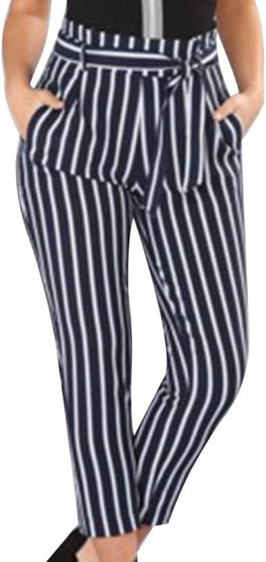 Mujer Elegantes Moda Largos Pantalones Otono Rayas Verticales Con Cremallera Con Cinturon Bolsillos Delanteros Basic Ropa Plisado Slim Fit Pants Pantalones De Cintura Alta Estilo Moderno Ropa Amazon Es Ropa Y Accesorios